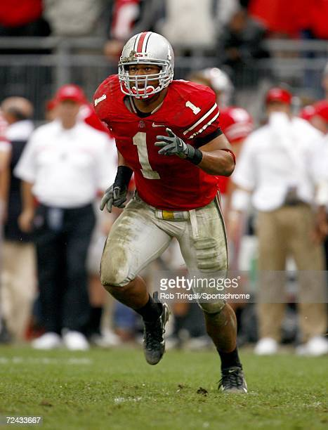 Marcus Freeman of the Ohio State Buckeyes defends against the Penn State Nittany Lions at Ohio Stadium on September 23 2006 in Columbus Ohio Ohio...