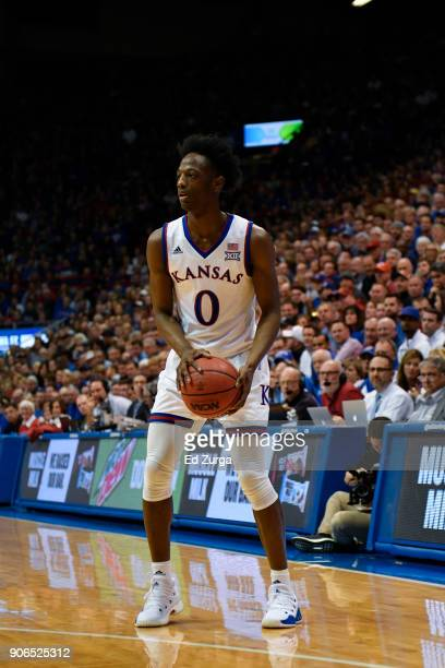 Marcus Garrett of the Kansas Jayhawks in action against the Iowa State Cyclones at Allen Fieldhouse on January 9 2018 in Lawrence Kansas