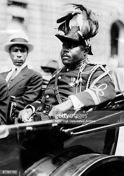 Marcus Garvey then head of the Universal Negro Improvement Association and provisional president of the Republic of Africa rides through Harlem...