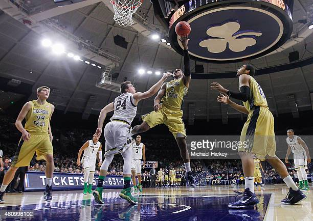 Marcus GeorgesHunt of the Georgia Tech Yellow Jackets shoots the ball against Pat Connaughton of the Notre Dame Fighting Irish at Purcell Pavilion on...