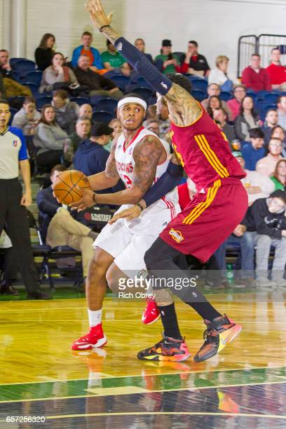 Marcus GeorgesHunt of the Maine Red Claws looks to pass the ball against the Canton Charge on March 23 2017 at the Portland Expo in Portland Maine...
