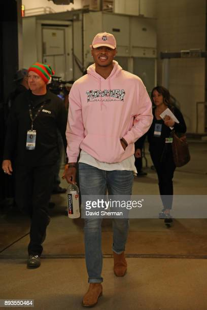 Marcus GeorgesHunt of the Minnesota Timberwolves arrives at the arena before the game against the Philadelphia 76ers on December 12 2017 at Target...