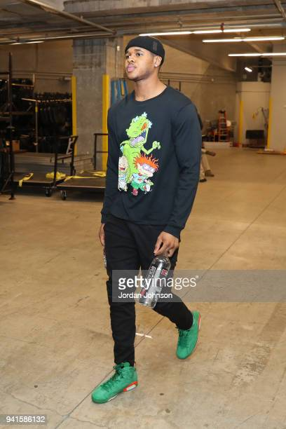 Marcus GeorgesHunt of the Minnesota Timberwolves arrives at the stadium before the game against the Utah Jazz on April 1 2018 at Target Center in...