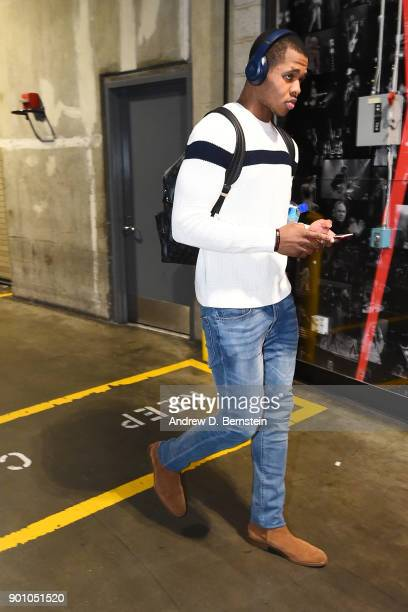 Marcus GeorgesHunt of the Minnesota Timberwolves arrives to the arena prior to the game against the Los Angeles Lakers on December 25 2017 at STAPLES...