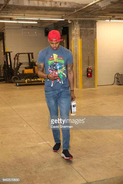 Marcus GeorgesHunt of the Minnesota Timberwolves arrives to the arena prior to the game against the Atlanta Hawks on March 28 2018 at Target Center...
