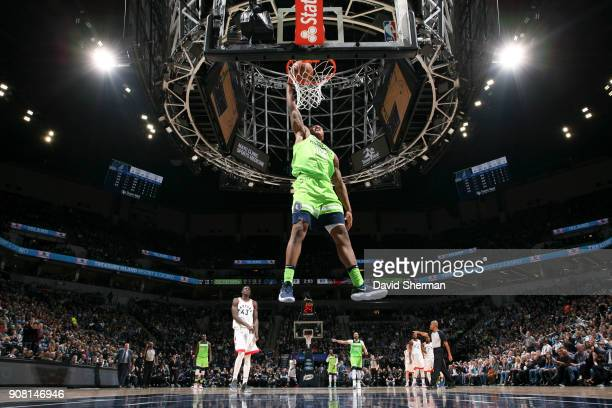 Marcus GeorgesHunt of the Minnesota Timberwolves dunks the ball against the Toronto Raptors on January 20 2018 at Target Center in Minneapolis...