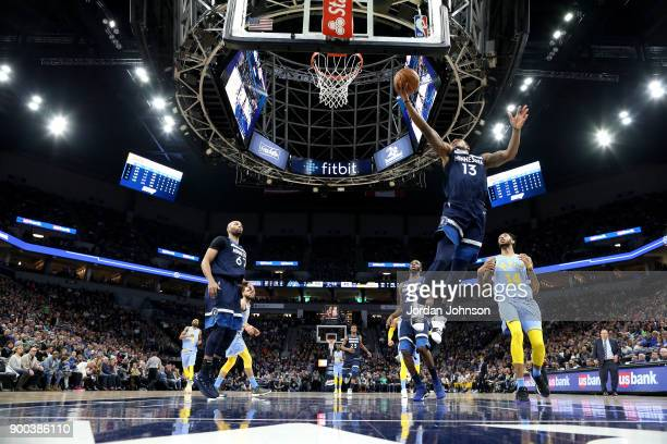 Marcus GeorgesHunt of the Minnesota Timberwolves goes to the basket against the Los Angeles Lakers on January 1 2018 at Target Center in Minneapolis...
