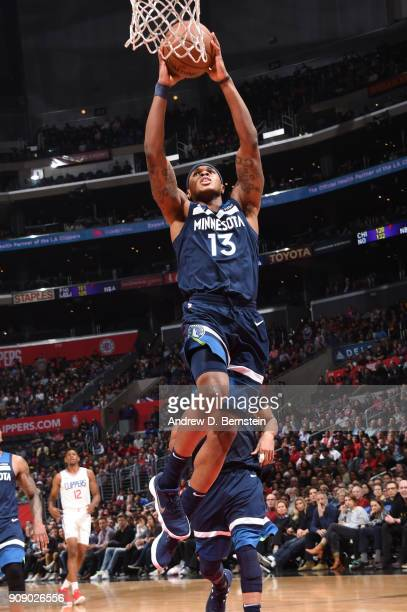 Marcus GeorgesHunt of the Minnesota Timberwolves goes up for a dunk against the LA Clippers on January 22 2018 at STAPLES Center in Los Angeles...