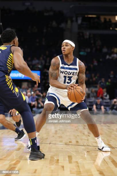 Marcus GeorgesHunt of the Minnesota Timberwolves handles the ball against the Indiana Pacers on October 24 2017 at Target Center in Minneapolis...
