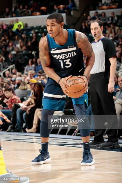 Marcus GeorgesHunt of the Minnesota Timberwolves handles the ball during the game against the Indiana Pacers on December 31 2017 at Bankers Life...