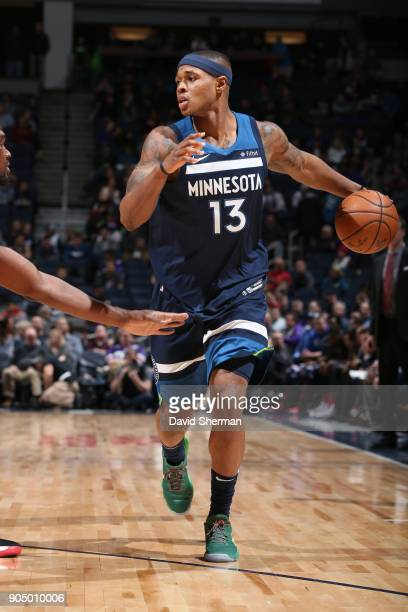 Marcus GeorgesHunt of the Minnesota Timberwolves handles the ball against the Portland Trail Blazers on January 14 2018 at Target Center in...