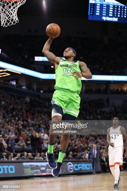 Marcus GeorgesHunt of the Minnesota Timberwolves handles the ball against the Toronto Raptors on January 20 2018 at Target Center in Minneapolis...