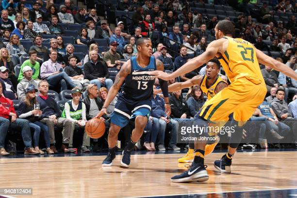 Marcus GeorgesHunt of the Minnesota Timberwolves handles the ball against the Utah Jazz on April 1 2018 at Target Center in Minneapolis Minnesota...
