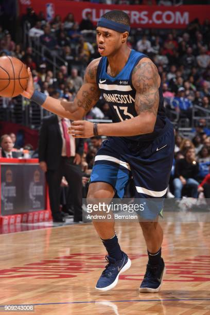 Marcus GeorgesHunt of the Minnesota Timberwolves passes the ball against the LA Clippers on January 22 2018 at STAPLES Center in Los Angeles...
