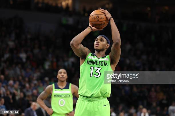 Marcus GeorgesHunt of the Minnesota Timberwolves shoots the ball against the Toronto Raptors on January 20 2018 at Target Center in Minneapolis...