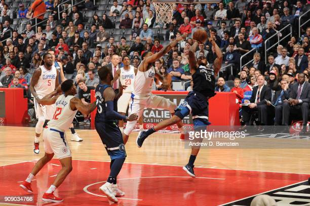 Marcus GeorgesHunt of the Minnesota Timberwolves shoots the ball against the LA Clippers on January 22 2018 at STAPLES Center in Los Angeles...