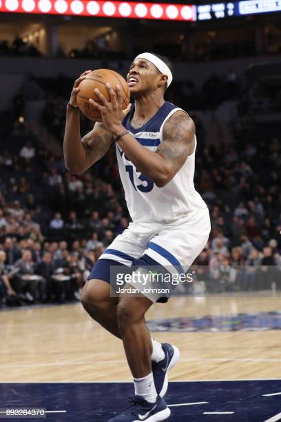 Marcus GeorgesHunt of the Minnesota Timberwolves takes the shot against the Sacramento Kings during the game on December 14 2017 at Target Center in...