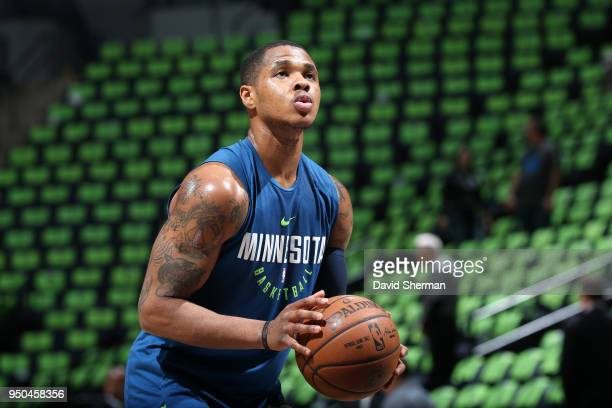 Marcus GeorgesHunt of the Minnesota Timberwolves warms up before the game against the Houston Rockets in Game Four of Round One of the 2018 NBA...