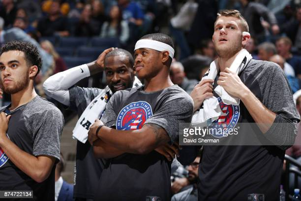 Marcus GeorgesHunt of the Minnesota Timberwolves with his teammates react to a play against the San Antonio Spurs on November 15 2017 at Target...