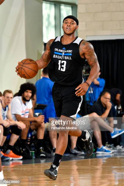 Marcus GeorgesHunt of the Orlando Magic brings the ball up court during the game against the New York Knicks during the 2017 Orlando Summer League on...