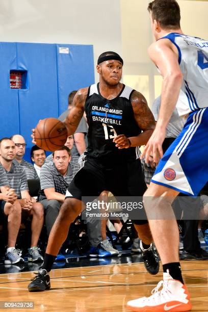 Marcus GeorgesHunt of the Orlando Magic handles the ball during the game against the New York Knicks during the 2017 Orlando Summer League on July 5...