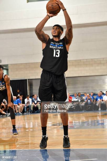 Marcus GeorgesHunt of the Orlando Magic shoots a free throw against the Dallas Mavericks on July 3 2017 during the 2017 Summer League at Amway Center...