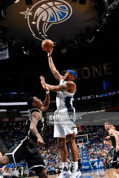 Marcus GeorgesHunt of the Orlando Magic shoots the ball against the Brooklyn Nets during the game on April 6 2017 at Amway Center in Orlando Florida...