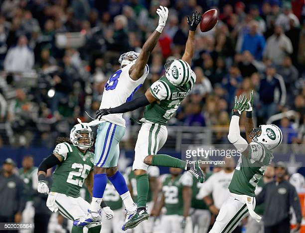 Marcus Gilchrist of the New York Jets breaks up a pass intended for Dez Bryant of the Dallas Cowboys in the fourth quarter at ATT Stadium on December...