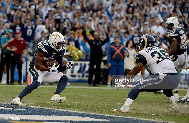Marcus Gilchrist of the San Diego Chargers intercepts the ball on the goal line against the St Louis Rams in the final minutes during their NFL Game...