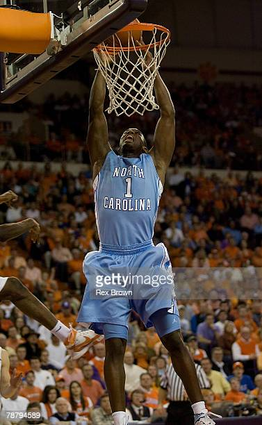 Marcus Ginyard of the North Carolina Tar Heels goes up for this dunk in the first half against the Clemson Tigers at Littlejohn Coliseum January 6,...
