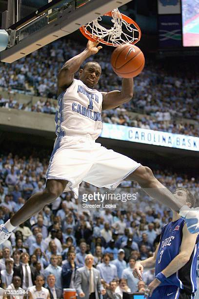 Marcus Ginyard of the University of North Carolina Tar Heels makes a slam dunk against the Duke Blue Devils at the Dean E. Smith Center on March 4,...