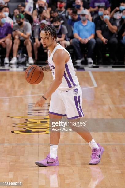 Marcus Graves of the Sacramento Kings dribbles the ball against the Los Angeles Lakers during the 2021 California Classic Summer League on August 4,...