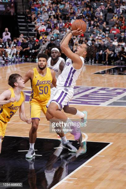 Marcus Graves of the Sacramento Kings shoots the ball against the Los Angeles Lakers during the 2021 California Classic Summer League on August 4,...
