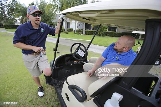Marcus Griffin right and Jeff Kelly play golf together at Kings Ridge golf course in Clermont Florida May 24 2013 Griffin and Kelly are neighbors in...
