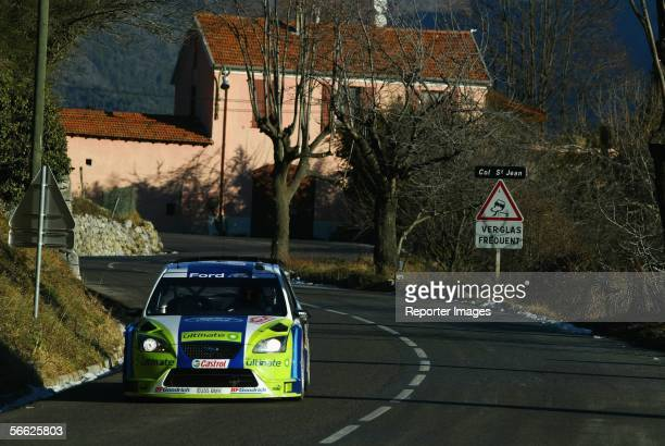 Marcus Gronholm and Timo Rautiainen of Finland drive their Ford Focus RS during the previews of the Rally of Monte Carlo January 19 2006 in Monte...