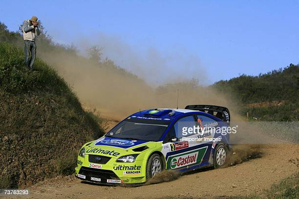 Marcus Gronholm and Timo Rautiainen of Finland driving the Ford Focus RS during Leg three of the Rally de Portugal on April 1 2007 in Faro Portugal