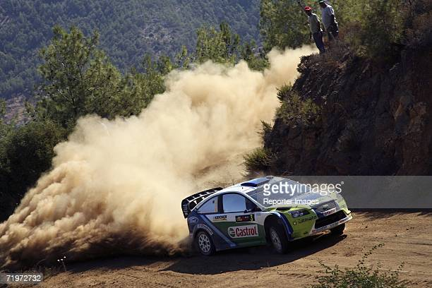 Marcus Gronholm and Timo Rautiainen of Finland in action in their Ford Focus RS during Leg 1 of the WRC Rally of Cyprus 2006 on September 22 2006 in...