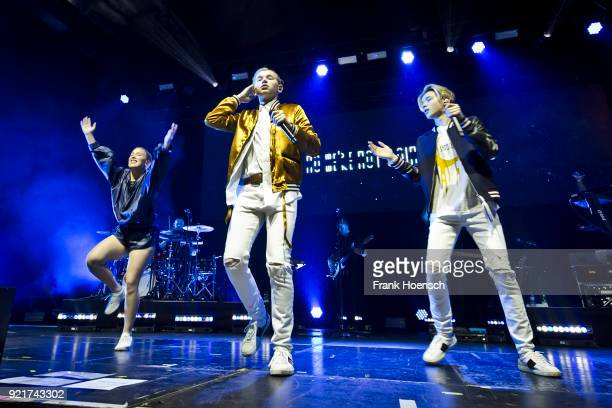 Marcus Gunnarsen and Martinus Gunnarsen of the Norwegian band Marcus Martinus perform live on stage during a concert at the Columbiahalle on February...