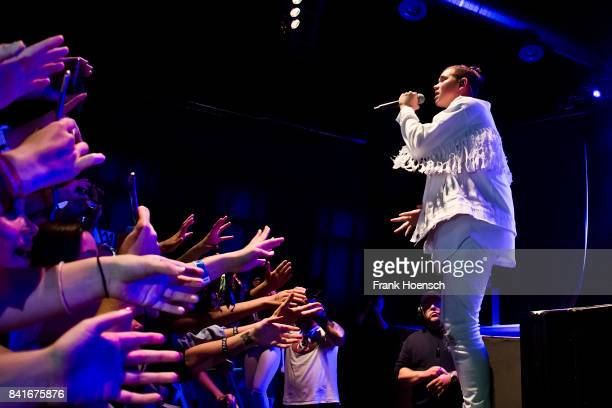 Marcus Gunnarsen of the Norwegian band Marcus Martinus performs live on stage during a concert at the Huxleys on September 1 2017 in Berlin Germany