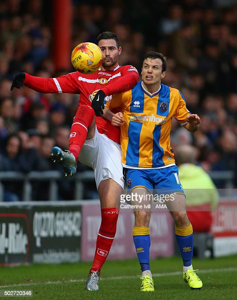 Marcus Haber of Crewe Alexandra and Shaun Whalley of Shrewsbury Town during the Sky Bet League One match between Crewe Alexandra and Shrewsbury Town...