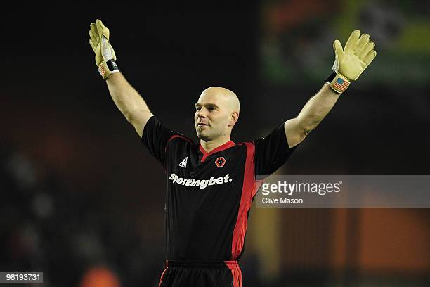 Marcus Hahnemann of Wolverhampton Wanderers salutes the fans at the end of the Barclays Premier League match between Wolverhampton Wanderers and...
