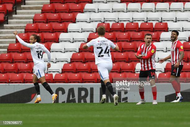 Marcus Harness of Portsmouth celebrates putting the visitors 10 up during the Sky Bet League 1 match between Sunderland and Portsmouth at the Stadium...