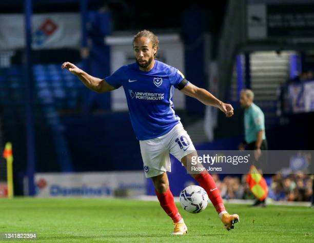 Marcus Harness of Portsmouth FC during the Sky Bet League One match between Portsmouth and Plymouth Argyle at Fratton Park on September 21, 2021 in...