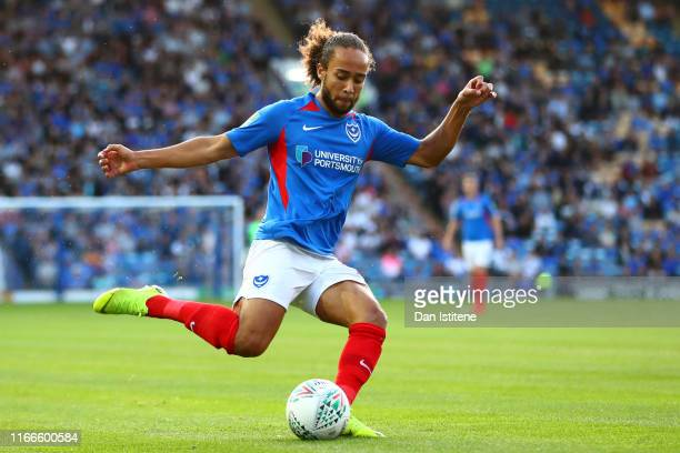 Marcus Harness of Portsmouth passes the ball during the Carabao Cup First Round match between Portsmouth and Birmingham City at Fratton Park on...