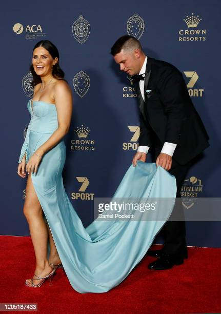 Marcus Harris and Catrona McAteer arrive ahead of the 2020 Cricket Australia Awards at Crown Palladium on February 10 2020 in Melbourne Australia