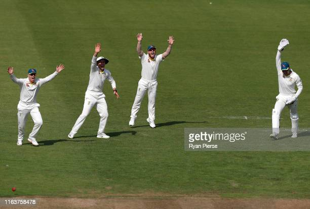 Marcus Harris Marnus Labuschagne David Warner Alex Carey of Brad Haddin XII appeal for the wicket of Joe Burns of Graeme Hick XII during day one of...