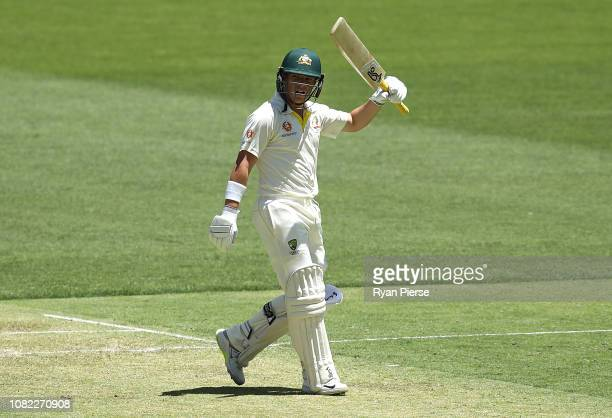 Marcus Harris of Australia celebrates after reaching his maiden half century during day one of the second match in the Test series between Australia...