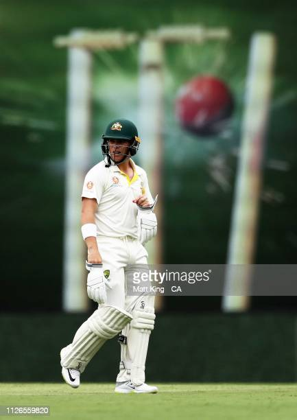 Marcus Harris of Australia looks dejected after being dismissed Vishwa Fernando of Sri Lanka during day one of the Second Test match between...