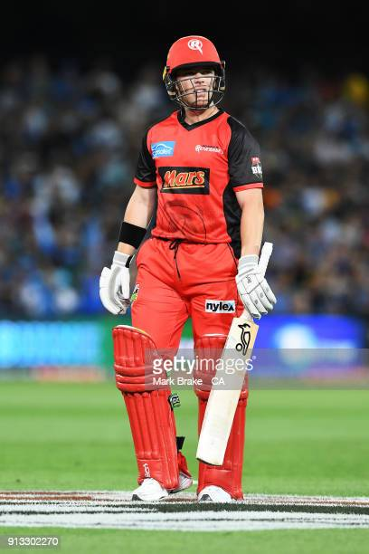 Marcus Harris of the Melbourne Renegades after being caught by Jake Weatherald of the Adelaide Strikers during the Big Bash League match between the...
