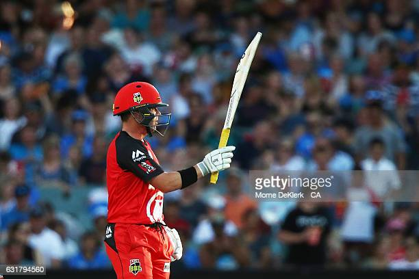 Marcus Harris of the Melbourne Renegades celebrates reaching 50 runs during the Big Bash League match between the Adelaide Strikers and the Melbourne...